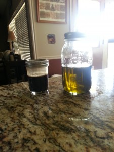 Propolis tincture (left) and comfrey infused oil (right)